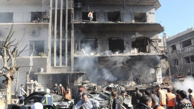 Wrecked Air Force Intelligence offices in Damascus (17 March 2012)