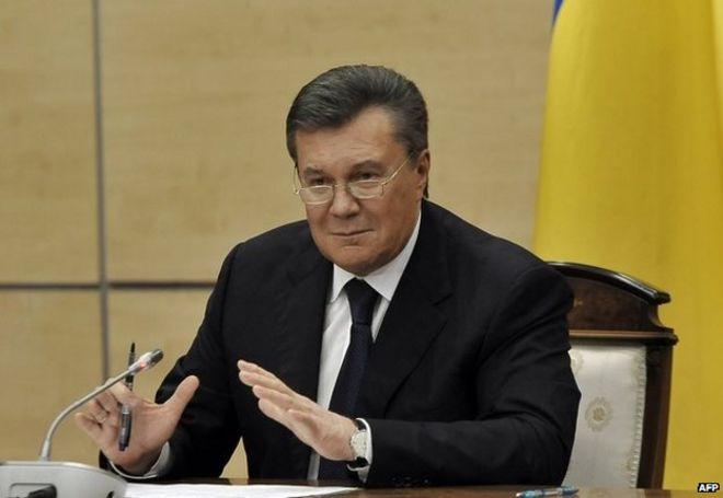 Viktor Yanukovych in Rostov-on-Don, Russia, 28 February