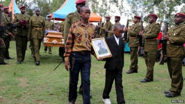 Funeral of Corporal Benard Kipkemoi Tonui, a security official killed in the Garissa attacks - 11 April