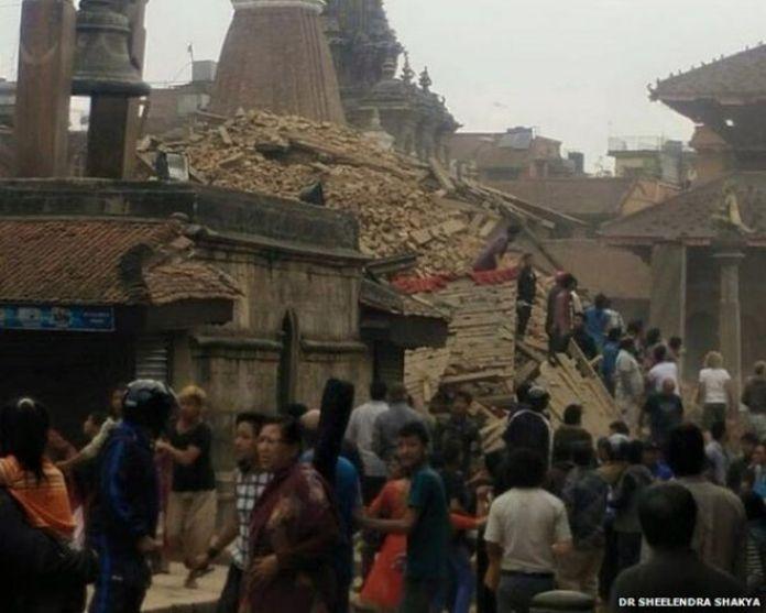 A collapsed building in Patan Durban Square, Kathmandu
