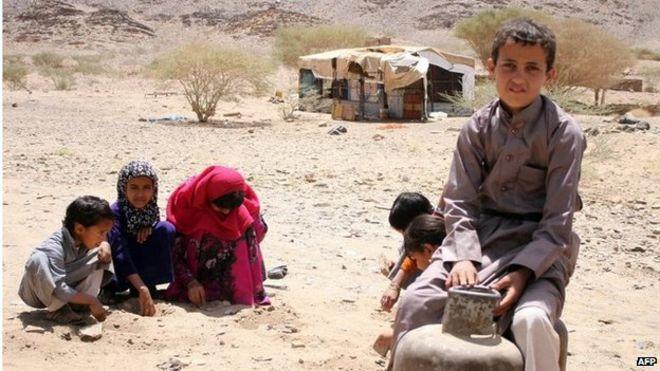 Yemeni children displaced by fighting (24/04/15)