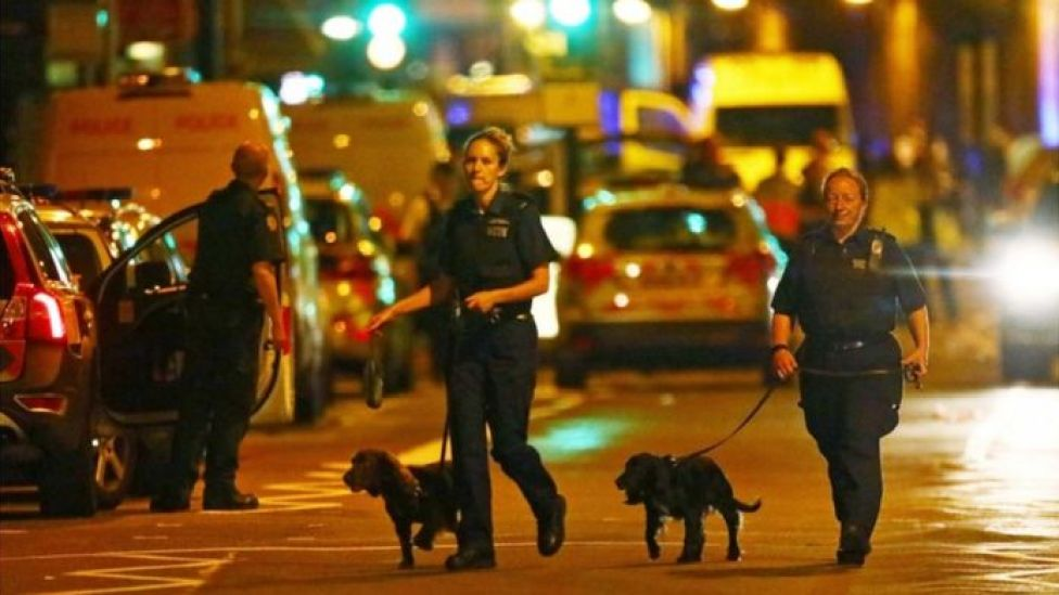 Police dogs at near Finsbury Park Mosque