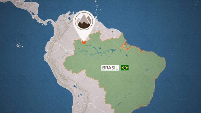Mapa con la ubicación de Pico da Neblina, en el norte de Brasil.