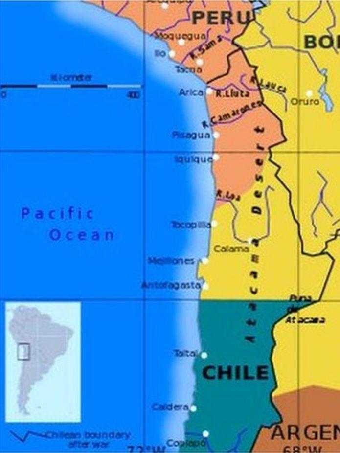 Así eran las fronteras de Bolivia y Chile antes de la Guerra del Pacífico. (Foto: Wikipedia)