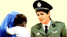 Portrait of Afghan policewoman Fariba Hamid