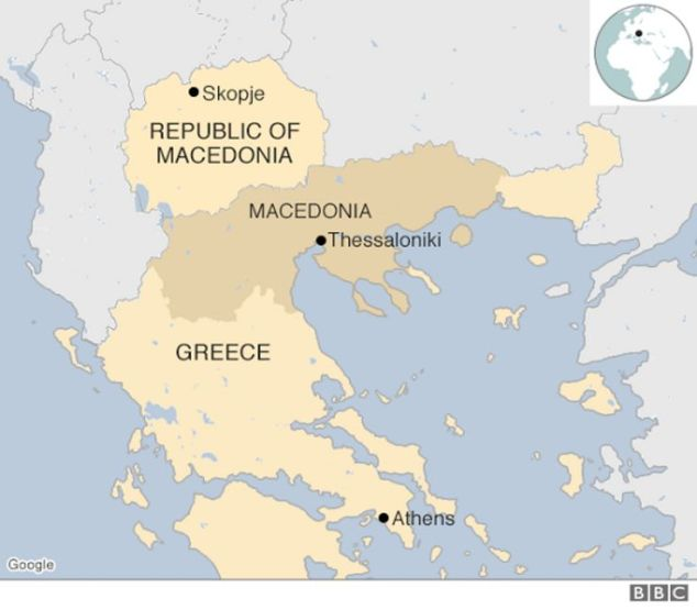 Map of Macedonia and Greece