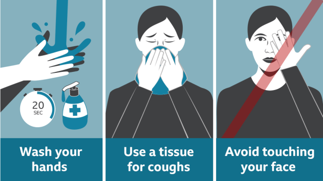Coronavirus: What you need to know graphic featuring three key points: wash your hands for 20 seconds; use a tissue for coughs; avoid touching your face
