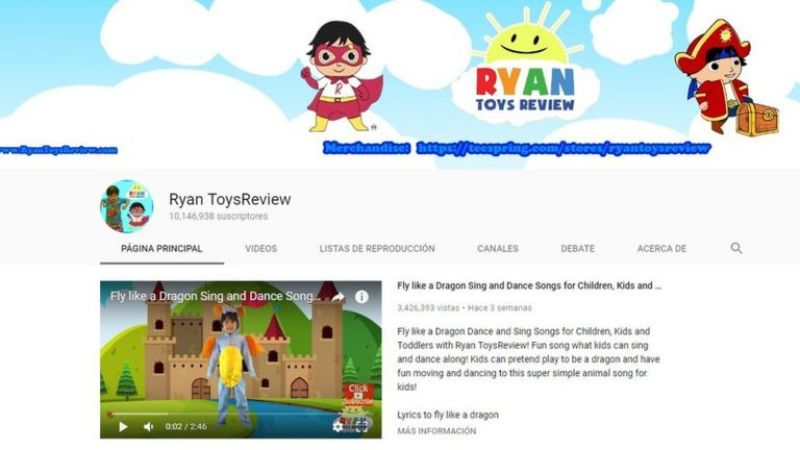 Imagen del canal de YouTube Ryan ToysReview
