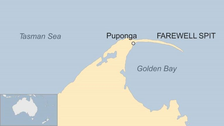 Map showing Golden Bay in New Zealand