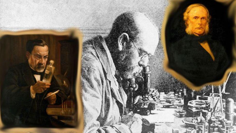 Retratos de Louis Pasteur, Robert Koch, Joseph Lister.
