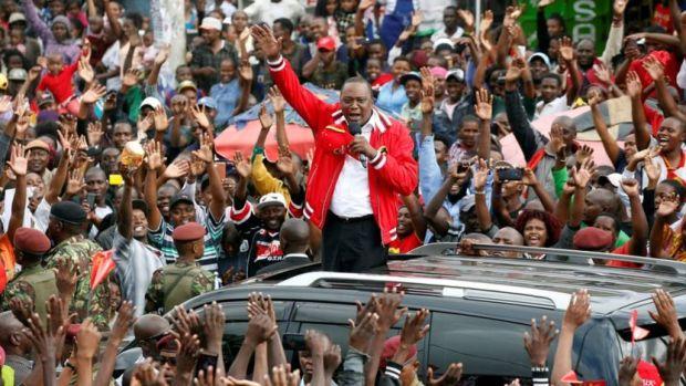 Uhuru Kenyatta addresses a Jubilee Party campaign caravan rally in Nairobi, Kenya October 23, 2017
