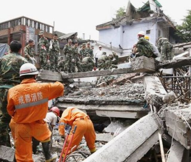 Rescue Workers In Action After An Earthquake In China