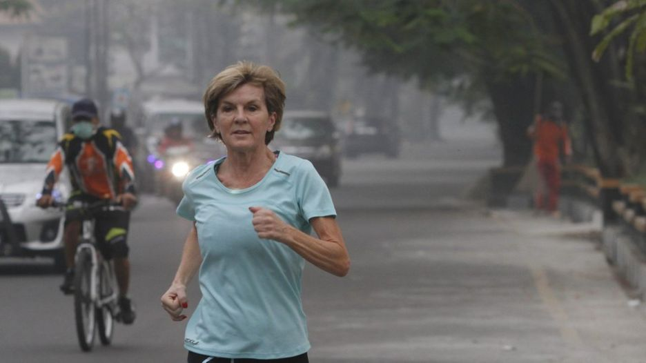 Julie Bishop takes morning run before attending Indian Ocean Rim Association meetings in Padang, West Sumatra, Indonesia, 23 October 2015