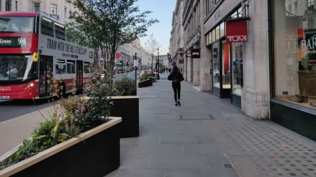 Planters containing trees on Regent Street