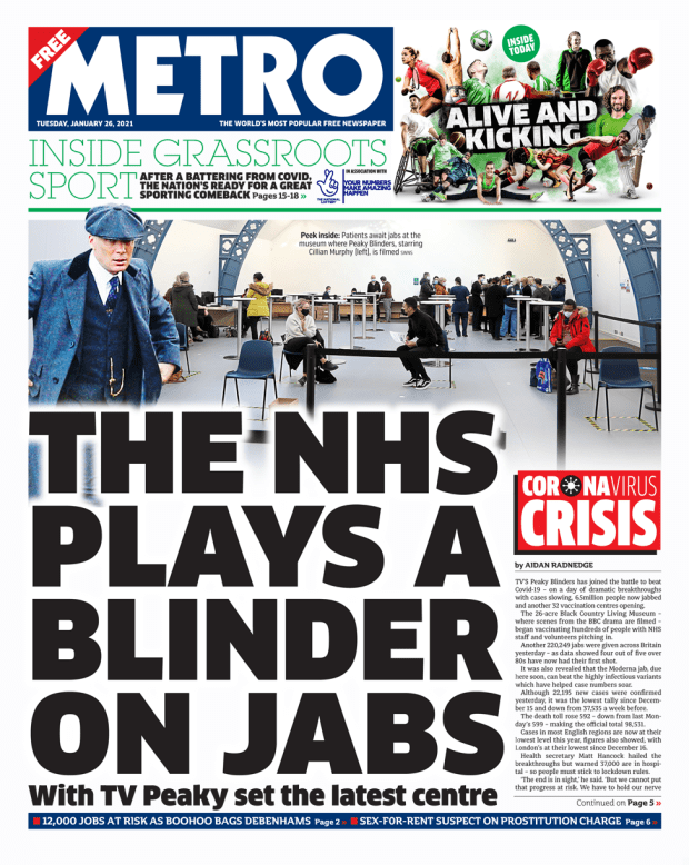 Metro front page 26/01/21