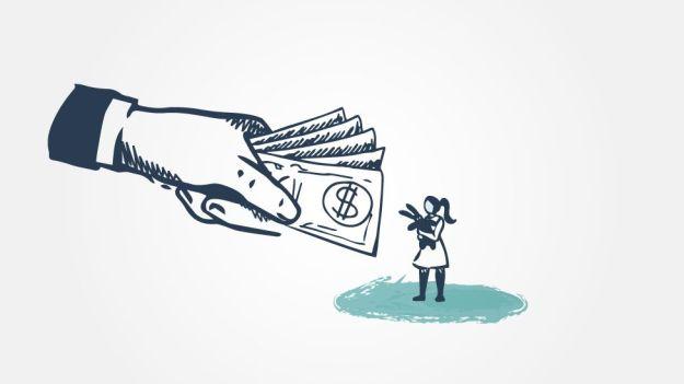Ilustración de una niña recibiendo dinero.