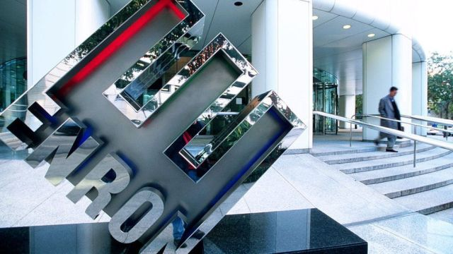 View of the logo outside of Enron Headquarters