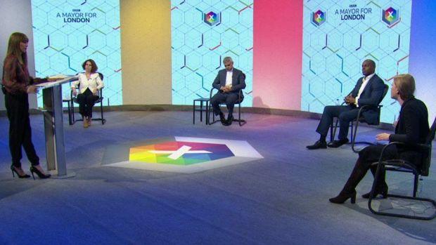 Riz Lateef moderates the debate between Sadiq Khan, Shaun Bailey, Sian Berry and Lisa Porritt