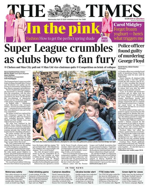 The Times front page 21.04.21