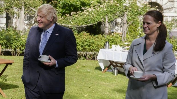 Jenny McGee (right) at a Downing Street garden party with Prime Minister Boris Johnson (left)