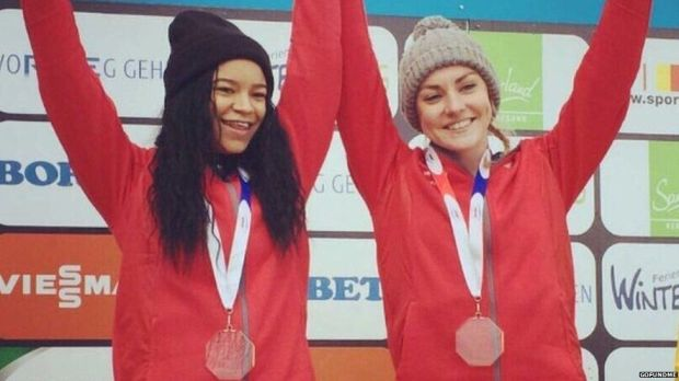 The Micas celebrating junior Bobsleigh World Championship gold in Winterberg earlier this year