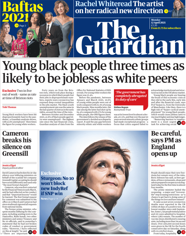 The Guardian front page 12 April 2021