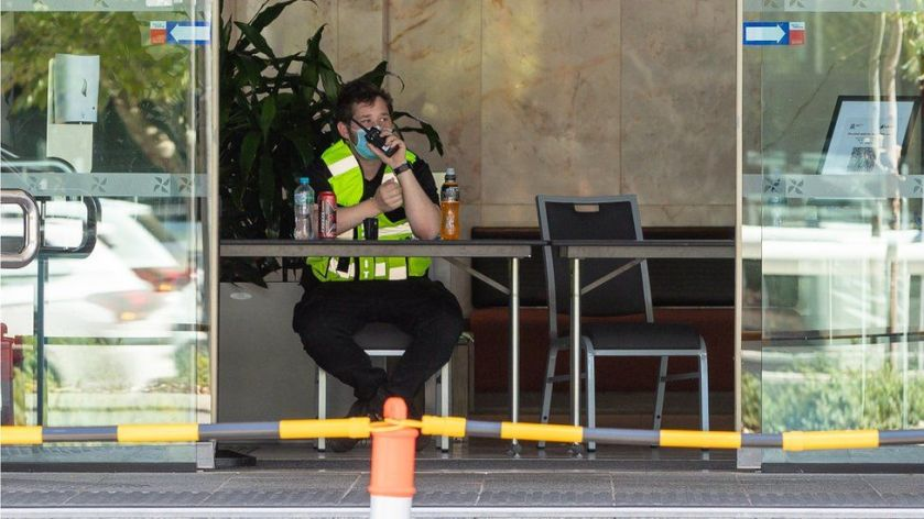 A security guard (not the person referred to in the story) at one of the quarantine hotels in Perth