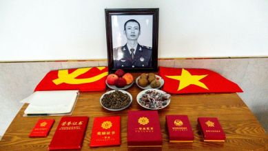 A view of the memorial service desk at the home of Xiao Siyuan, one of the four PLA soldiers killed in the last year's border clash