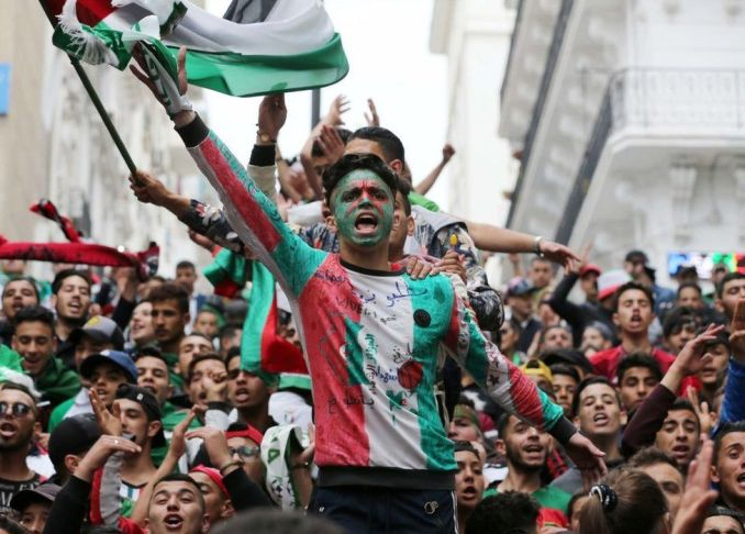 Algerians protest at a demonstration for the departure of the Algerian regime in Algiers, Algeria - 3 May 2019