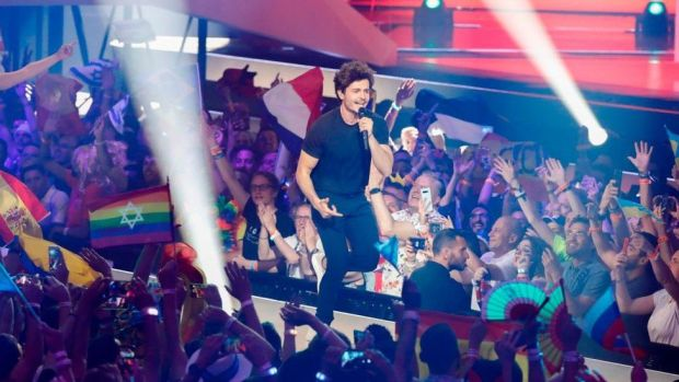 """Spain's Miki performs the song """"La Venda"""" during the Grand Final of the 64th edition of the Eurovision Song Contest 2019 at Expo Tel Aviv on May 18, 2019,"""