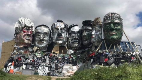 Statue of G7 leaders made of electronic waste