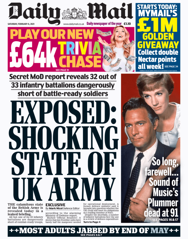 Daily Mail front page 06/02/21