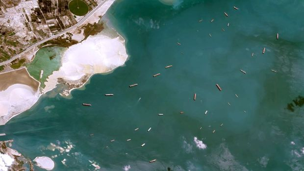 Satellite image showing shipping waiting near the Suez Canal