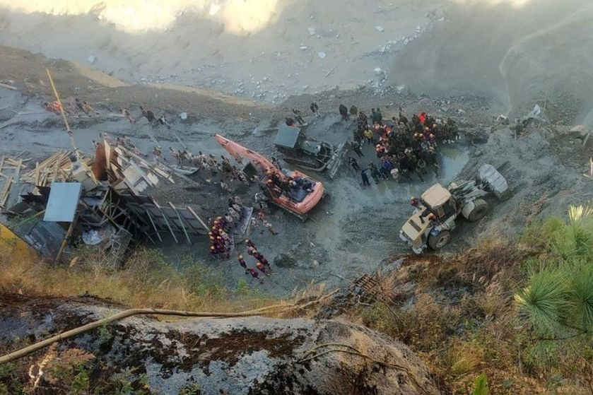 Rescue team members work near a tunnel after a part of a glacier broke away and caused flood in Tapovan, northern state of Uttarakhand, India. Photo: 8 February 2021