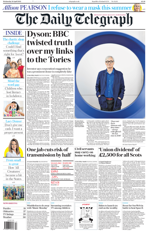 The Daily Telegraph 28 April 2021