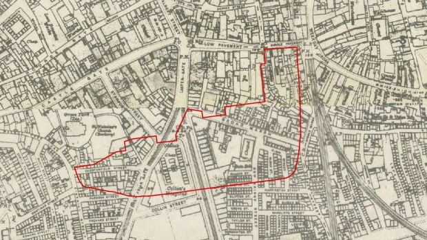 The old street pattern of Nottingham