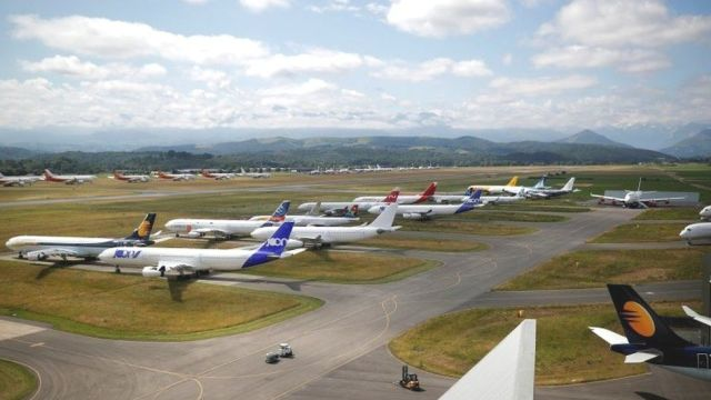Lots of planes at a facility in Tarbes in France