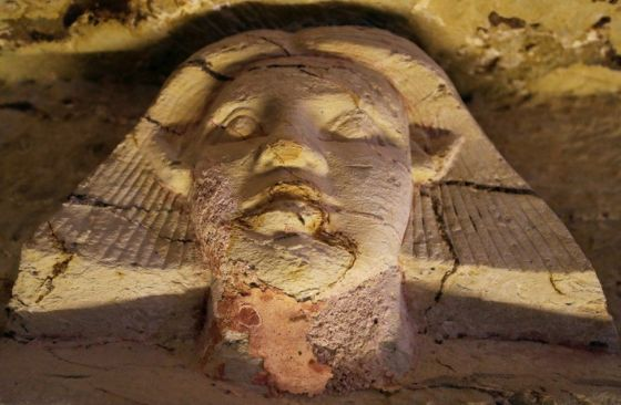 A statue is seen inside the newly-discovered tomb of Wahtye, which dates from the rule of King Neferirkare Kakai