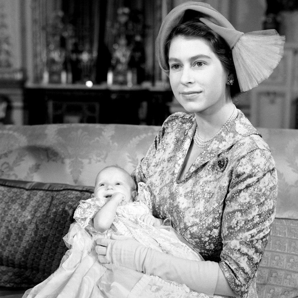 Princess Elizabeth with her baby daughter, Princess Anne, after the christening at Buckingham Palace