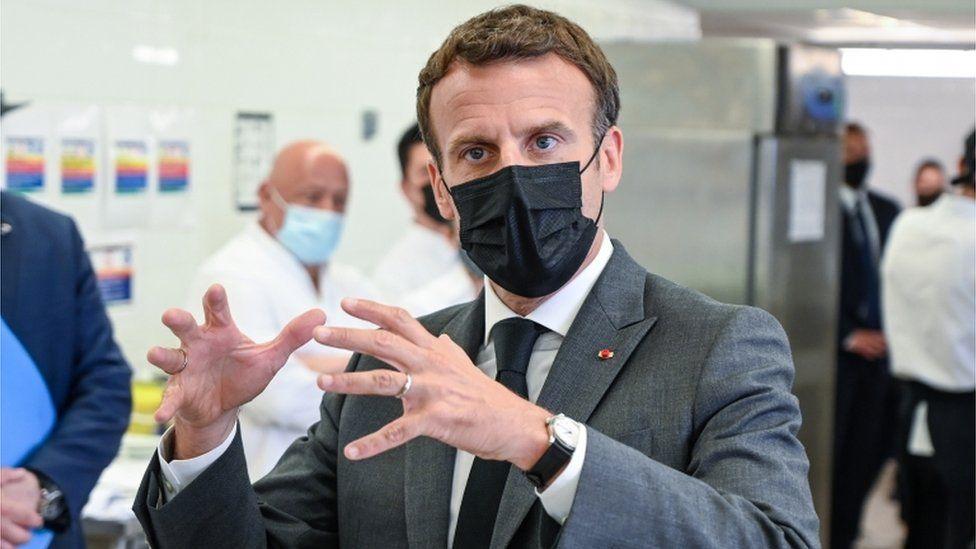 President Emmanuel Macron at a hotel in southeast France