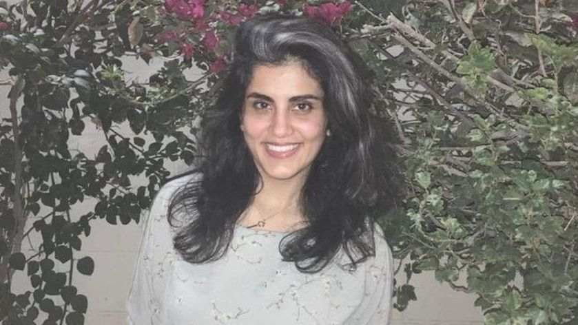 Photo of Saudi women's right activist Loujain al-Hathloul following her release from prison (10 February 2021)