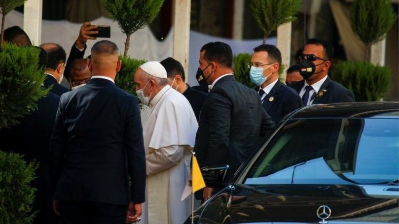 Pope Francis is pictured as he arrives to meet with Grand Ayatollah Ali al-Sistani, in Najaf,