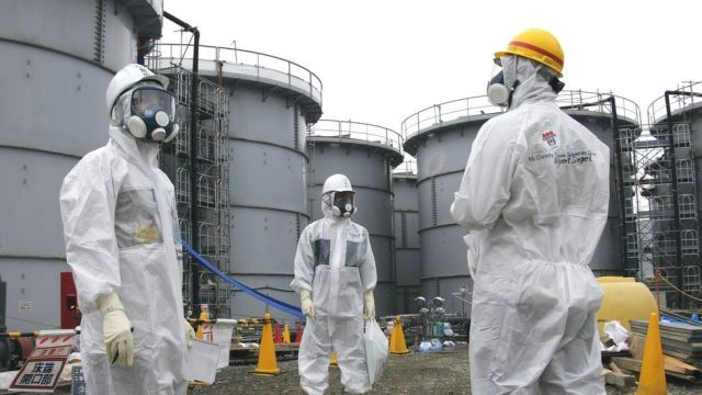 Workers at the Fukushima plant in Japan