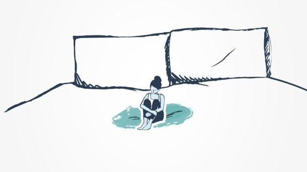 Ilustración de una mujer en una cama.