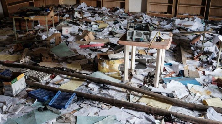 A looted classroom is seen at Samre Technical College, being temporarily occupied by alleged Eritrean soldiers, in Samre, southwest of Mekelle in Tigray region, Ethiopia, on June 20, 2021.