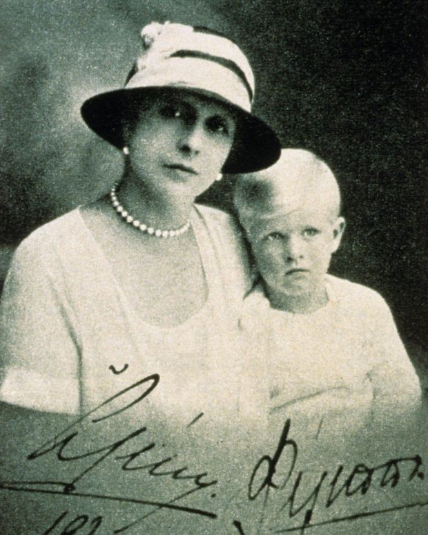 Princess Alice of Greece and her son Prince Philip in 1924, after being exiled from Greece with Philip's father, Prince Andrew of Greece.