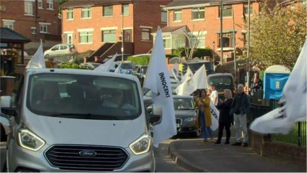 A cavalcade of cars passed through Ballymurphy on Tuesday evening to thank the community for its support