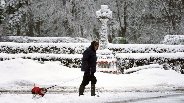 Man walking his dog in Allenheads, Northumbria