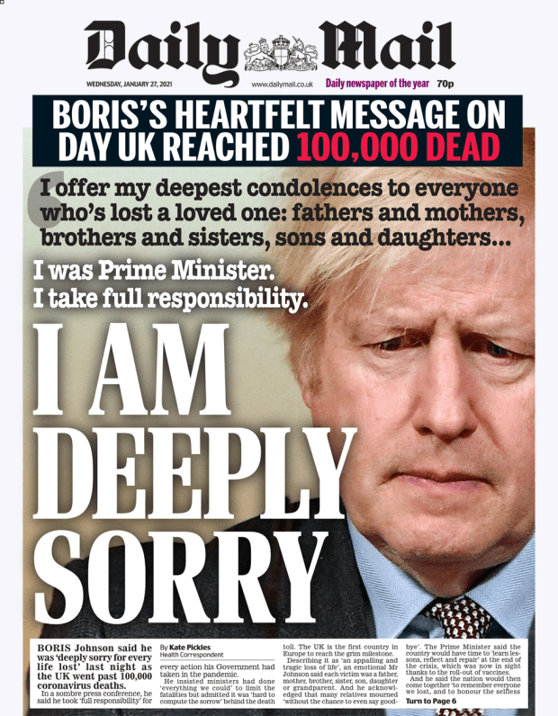 Daily Mail front page 27/01/21