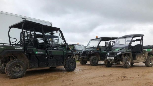 Buggies that are used by the Springwatch cast and crew to get around